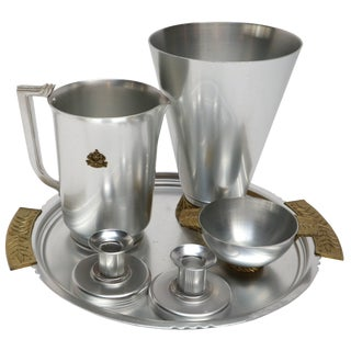 Kensington Aluminium and Brass Table Accessories - 6 Pc. Set For Sale