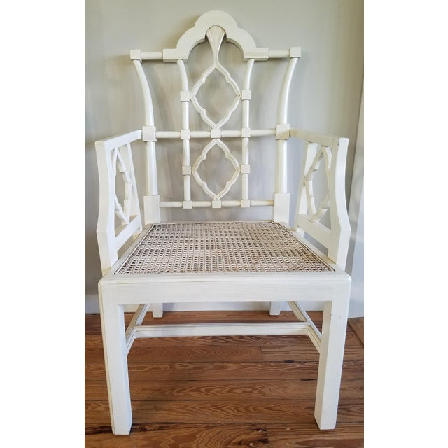 Chippendale Off-White Arm Chair For Sale In Miami - Image 6 of 6