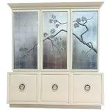 Image of Robsjohn-Gibbings for Widdicomb Cabinet With Sliver Leaf Door Panels For Sale
