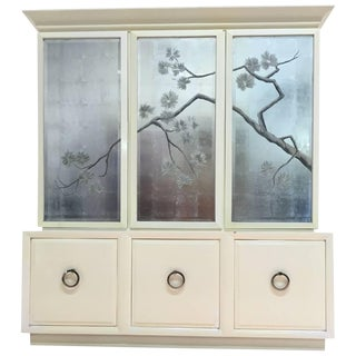 Robsjohn-Gibbings for Widdicomb Cabinet With Sliver Leaf Door Panels For Sale