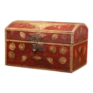 18th Century French Painted Wedding Trunk Box With Floral Motifs From Normandy For Sale