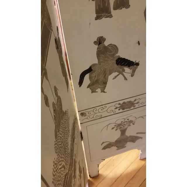 1920s Antique Chinese Gesso Screen Room Divider For Sale - Image 10 of 13