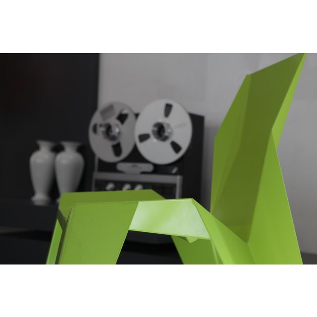 Contemporary Origami Inspired Edge Green Chair | Indoor & Outdoor Chair For Sale - Image 3 of 9