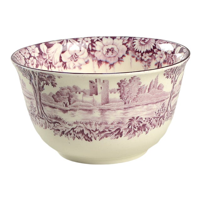 Early 20th Century Wood & Sons Castles Purple Cranberry Bowl For Sale