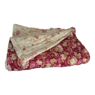 19th C. French Floral Motif Quilt