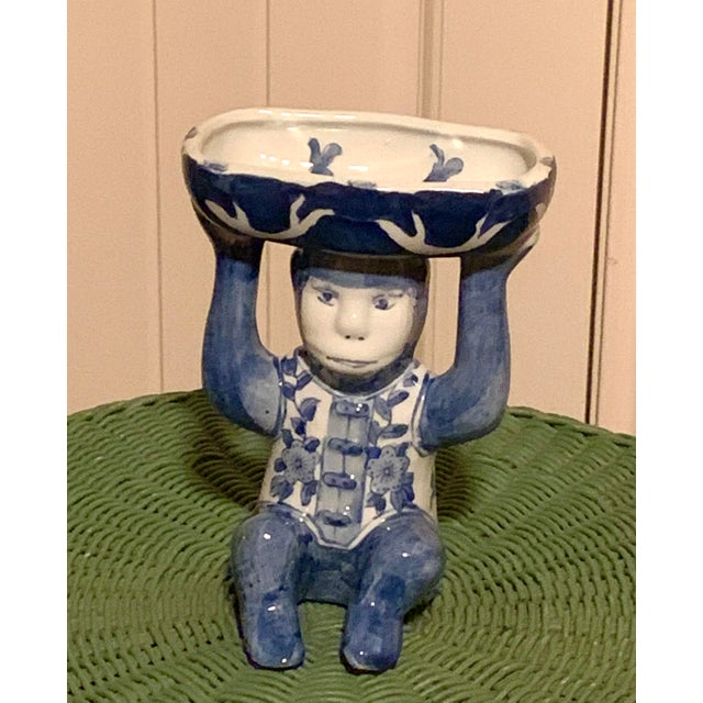 1970s Chinoiserie Blue and White Monkey Trinket Dish For Sale - Image 5 of 6