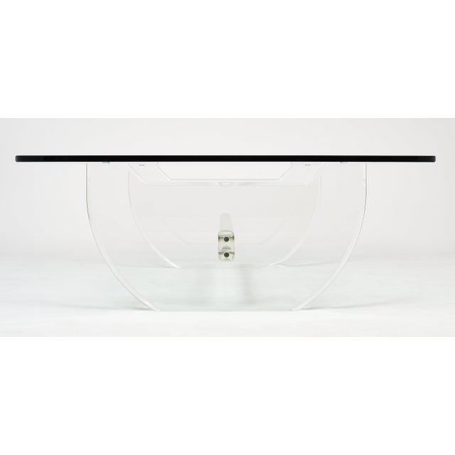 1970s French Modernist Lucite Coffee Table For Sale - Image 5 of 10
