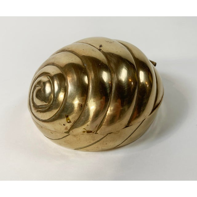 Metal Hinged Brass Shell Trinket Box For Sale - Image 7 of 7