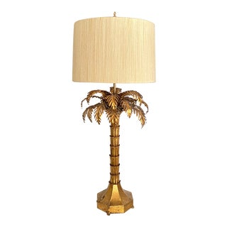 1950s Rare Warren Kessler Gilded Palm Tree Table Lamp With String Shade For Sale