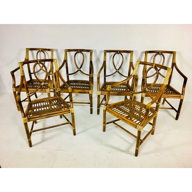 1980s Mid-Century Modern McGuire Rattan Dining Arm Chairs - Set of 6 For Sale - Image 12 of 13