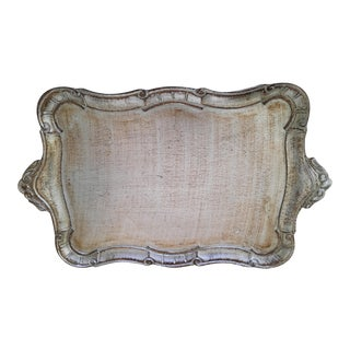 Italian Silver Florentine Serving Tray For Sale