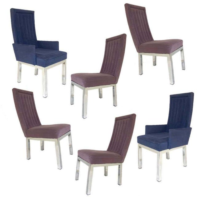 Lovely set of 6 Sleek Milo Baughman chrome based dining chairs. This set consists of 2 armchairs and 4 side chairs done in...