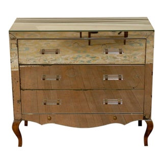 Mirrored Art Deco Three Drawer Chest with Brass Accents For Sale