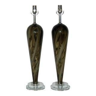 Vintage Murano Striped Lamps Bronze White For Sale
