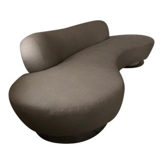 Curved Sofa in Linen For Sale