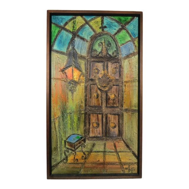 Original Mid-Century Gothic Painting on Board by Van Hoople For Sale