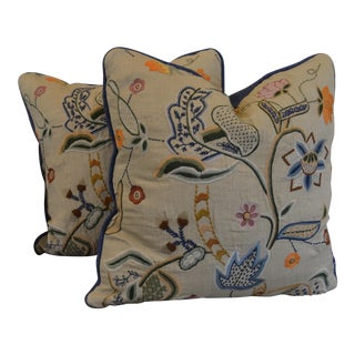 "Eric Cohler Designs by Lee Jofa Embroidered Pillows - a Pair - 20""x20"" For Sale"