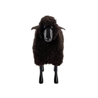 Brown Curly Sheepskin With Black Wood and Leather Handmade, Small Sheep For Sale