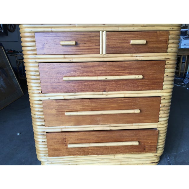 Restored Stacked Rattan Highboy Dresser With Mahogany Top For Sale In Los Angeles - Image 6 of 10