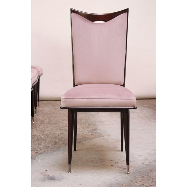 Purple Set of Six Mid-Century Italian Dining Chairs With Nickel Sabots For Sale - Image 8 of 13