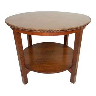 Antique Signed Gustav Stickley Two Tier Leather Top Table No. 609 For Sale