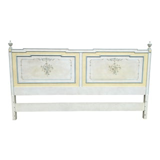 1970s Shabby Chic John Widdicomb White King Headboard For Sale