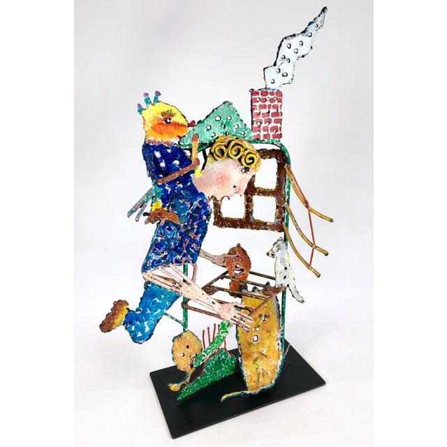 1980s Zaikine Folk Art Signed Metal Sculpture For Sale - Image 13 of 13