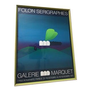 1970s Vintage Folon Galerie Marquet Poster For Sale