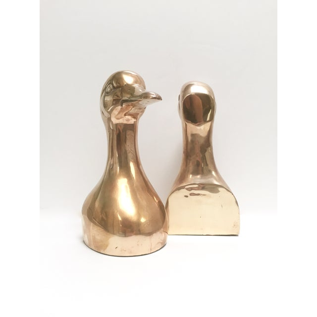 Large Vintage Brass Duck Head Bookends- A Pair - Image 4 of 8