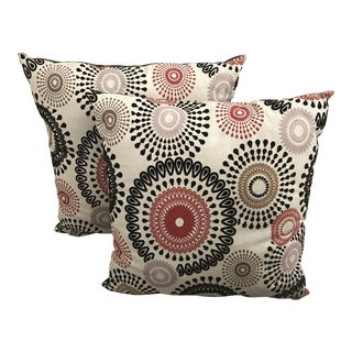 "24"" Modern Multicolor Floral Flocked Pillows - a Pair"
