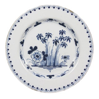 Dutch Delft Blue and White Charger Plate For Sale