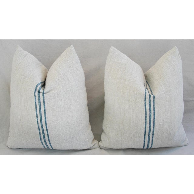 Blue Stripe French Grain Sack Pillows - Pair - Image 5 of 11