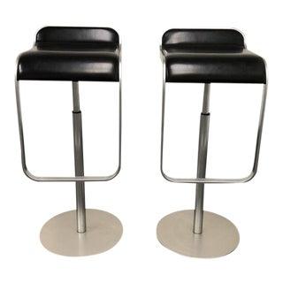 LEM Black Leather Seat Piston Stools - A Pair