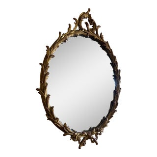 Antique Carved Wood Circle Mirror For Sale