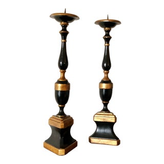 Antique Theodore Alexander Tall Solid Walnut Candlestick Candle Holder - a Pair For Sale