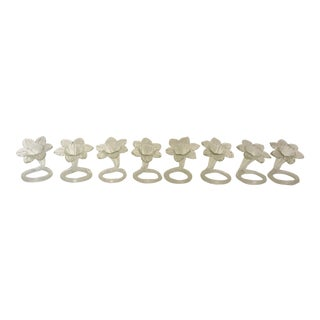 Handblown Glass Flower Napkin Rings