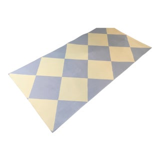 Yellow & Blue Harlequin Floorcloth - 2′10″ × 5′9″ For Sale