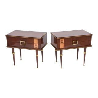 Pair of Italian Modern Walnut, Sycamore, and Bronze-Mounted Bedside Tables For Sale