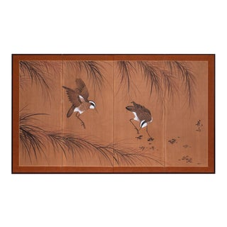 1960s Vintage Chinese Silk Screen With Birds For Sale