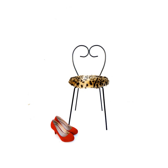 Mid-Century Heart Shaped Metal & Leopard Faux Fur Vanity Chair - Image 8 of 11