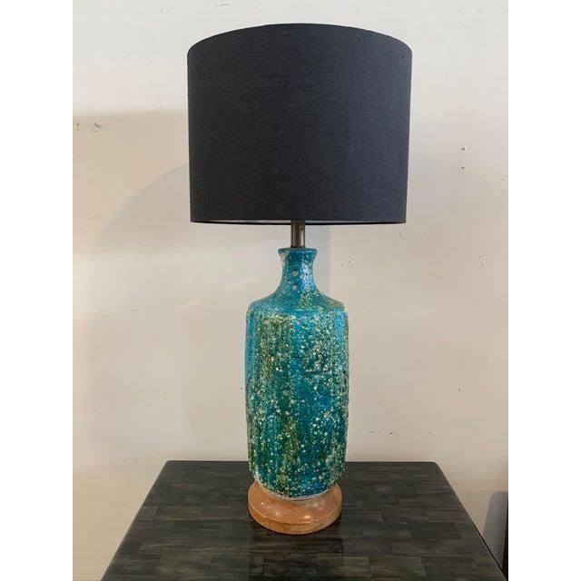 1960s Mid-Century Lava Glaze Ceramic Lamp For Sale In Los Angeles - Image 6 of 6