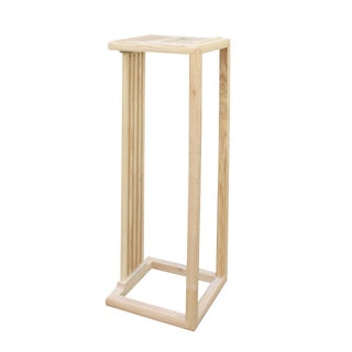 Chinese Handmade Natural Wood Tone Square Side Table Plant Stand For Sale