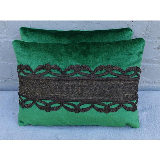 Green Silk Velvet Pillows With Metallic Trim- Pair - Image 2 of 3
