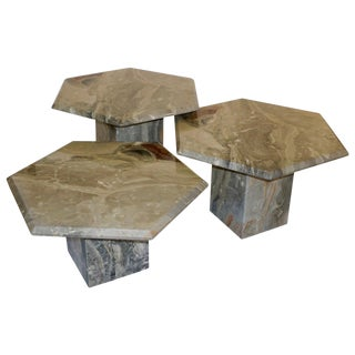 1970s Vintage Italian 3 Geometric White Gray and Red Vein Marble Nesting Tables For Sale