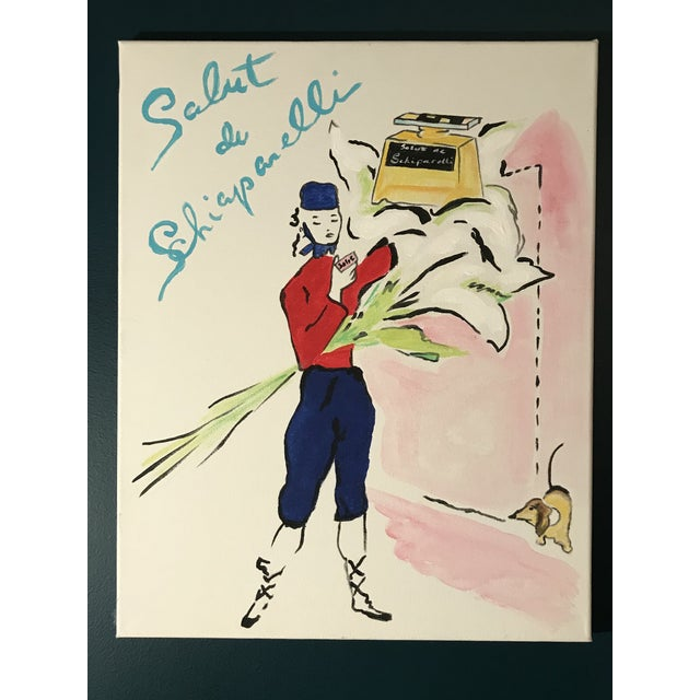 """2010s Contemporary """"Salut de Schiaparelli Fragrance"""" Acrylic Painting After a 1940s Advertisement For Sale - Image 5 of 5"""