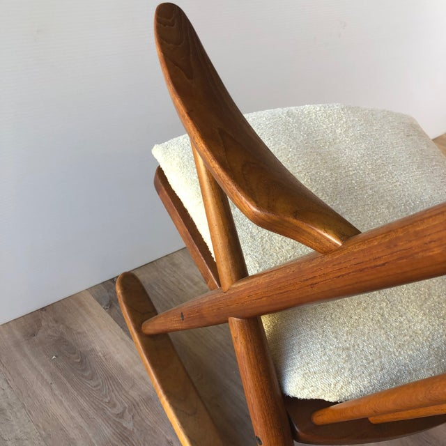 Newly-Upholstered Frank Reenskaug Teak Rocking Chair for Bramin For Sale In Seattle - Image 6 of 11
