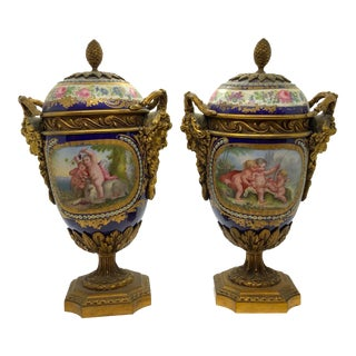 19th Century French Lidded Urns.- a Pair For Sale