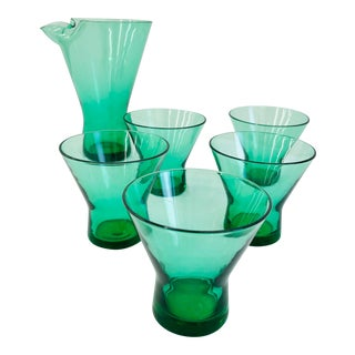 Vintage Art Glass Cocktail Set For Sale