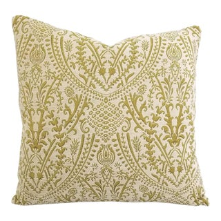 JF Fabrics Ian White Chenille and Chartreuse Damask Pillow Cover For Sale