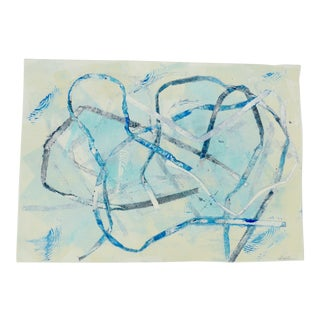 Contemporary Drawing, Abstract Ribbons in Blues For Sale
